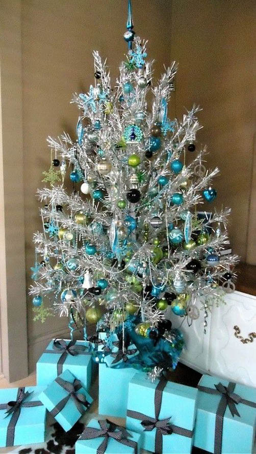 silver and blue christmas tree decorating ideas - Silver Christmas Tree Decorations