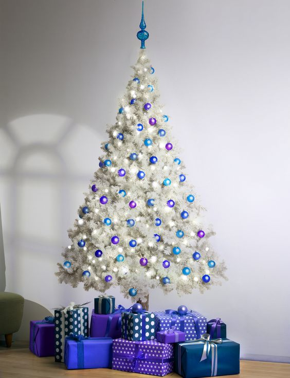 White Christmas Tree With Blue Lights.Mesmerizing Blue Christmas Tree Decorations Christmas
