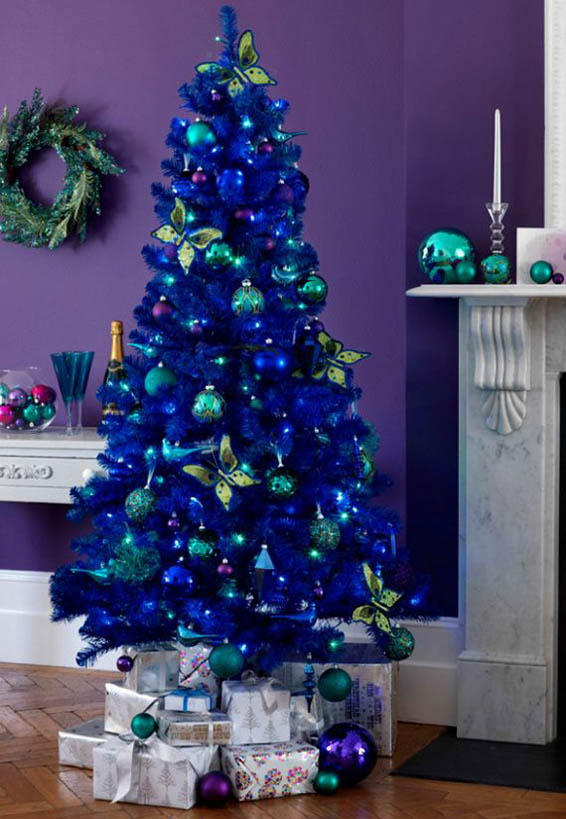 if you want to go all in for blue christmas theme you can use the christmas tree decorating idea instead of using traditional colored christmas tree