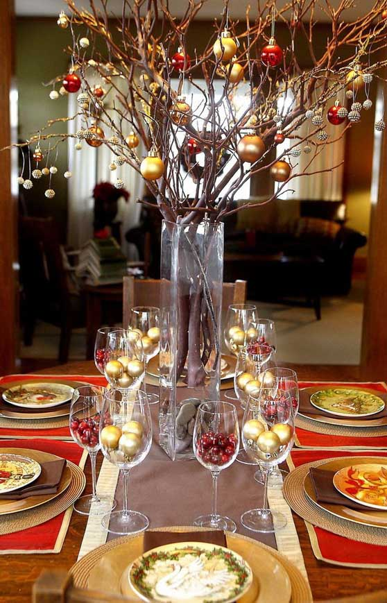 This festive table setting is so easy to do. Hang red and gold baubles from a branch placed in a vase coupled with gold baubles and red cherries in your ... & Top Christmas Table Settings - Christmas Celebration - All about ...
