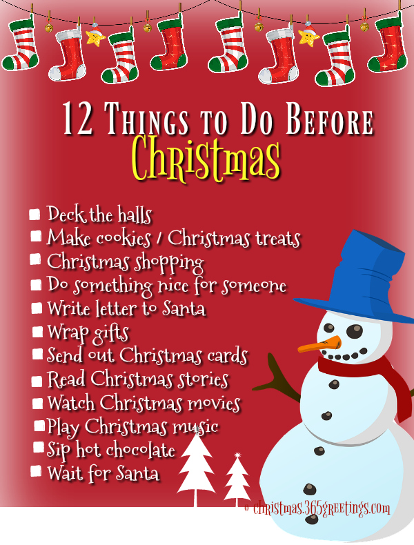 100 Things To Do Before Christmas - Christmas Celebrations