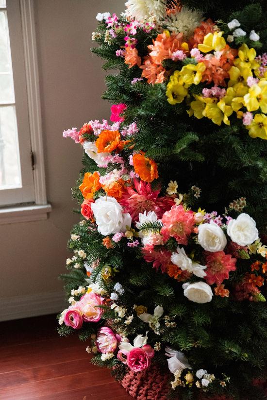 navidad guirnalda de flores