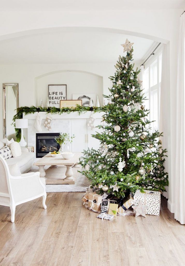 if you truly want a modern and chic christmas decoration wed suggest you go for a slim or sparse christmas tree decoration with neutral colored ornaments - Christmas Decor Trends 2018