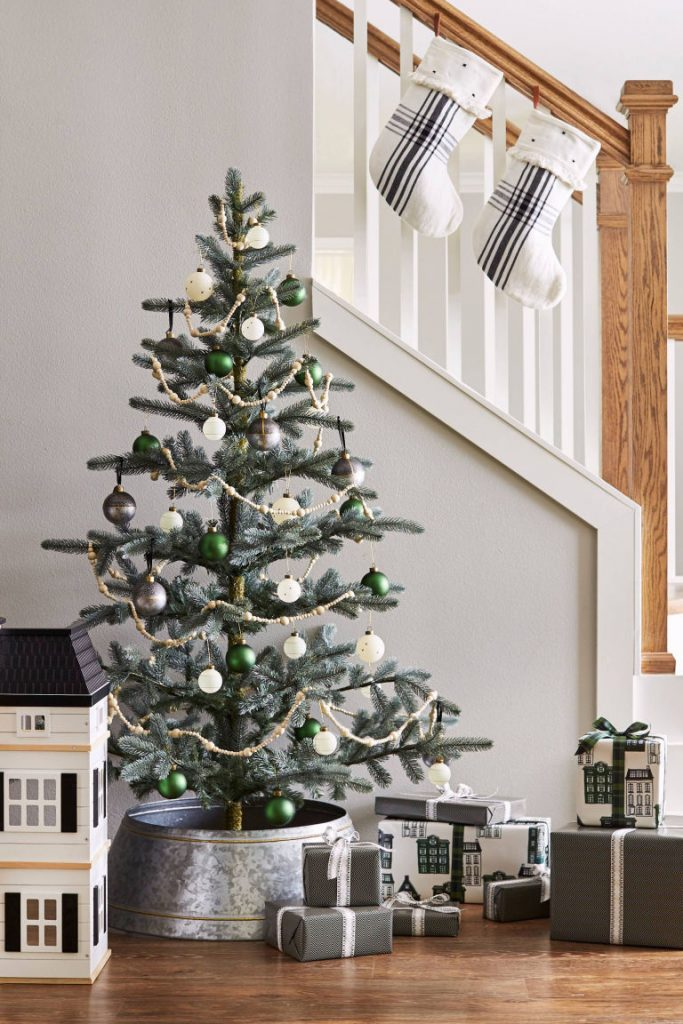 christmas tree in galvanized tree collar - Christmas Decor Trends 2018