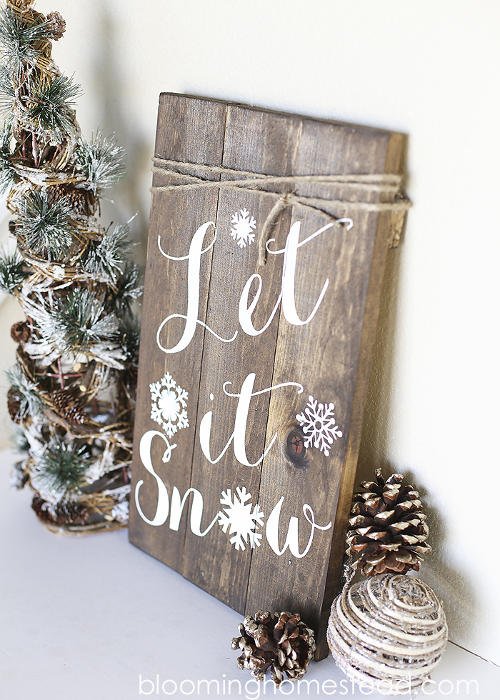to make this palette sign youll need a few blocks of wood nails hammer and white paint the one featured in the picture displays the wording let it - Christmas Decorations To Make And Sell