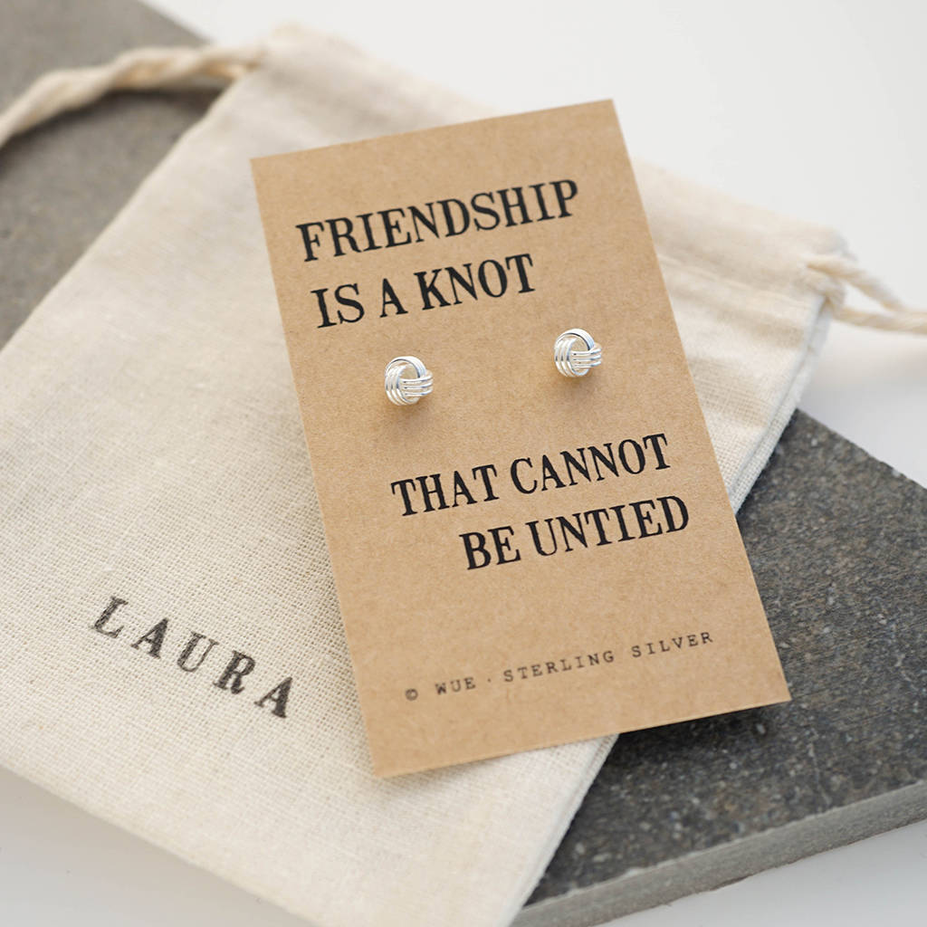 heres a thoughtful and perfect christmas gift idea for your best we loved the idea of presenting these knot earrings in these beautiful message cards