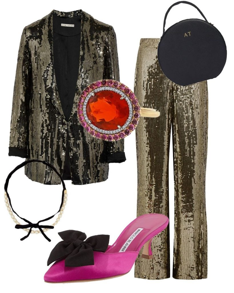 a glittery outfit can never go wrong at a christmas party you can wear sequined wide pants with a sequined blazer with same or contrasting color