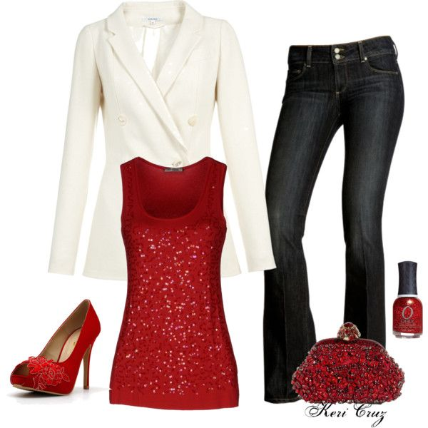 Red And White: - 30 Christmas Party Outfit Ideas - Christmas Celebration - All About