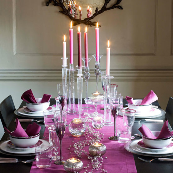 This Christmas table setting exemplifies the beauty of the color purple. A purple table runner is placed on a black table and topped with white and purple ... & Christmas Table Setting Ideas- Our Top Picks - Christmas Celebration ...
