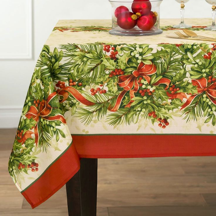 Give Your Christmas Table A Traditional Look By Adorning It With This Ultra  Gorgeous Holly And Ribbon Printed Tablecloth. It Looks Like The Leaves Are  ...