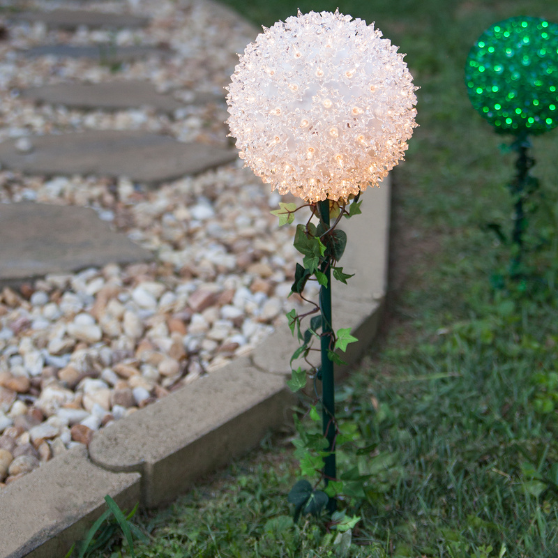 infuse a soft glow in your outdoor decoration by placing these starlight sphere stakes in your yard or garden it can also be used to illuminate your garden - Christmas Light Spheres
