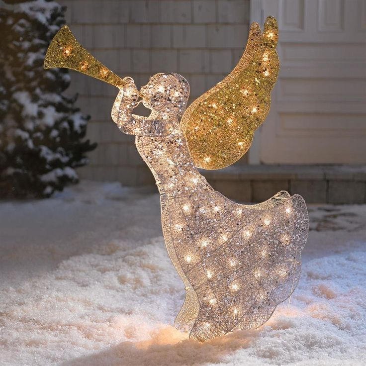 crystal angel christmas decoration outdoor - Lighted Christmas Angel Yard Decor
