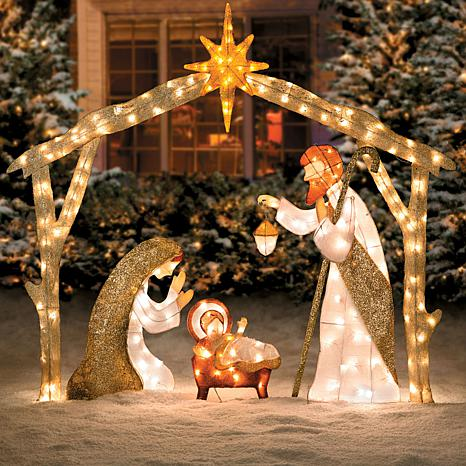 glittering tinsel nativity scene decoration outdoor christmas light decoration ideas - Outdoor Tinsel Christmas Decorations
