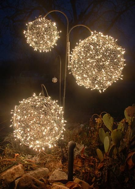 Outdoor christmas light decoration ideas christmas celebration lighting spheres aloadofball Choice Image