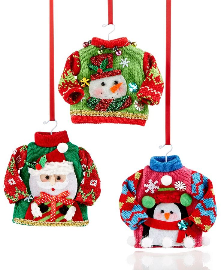 sweater ornaments - Ugly Christmas Decorations