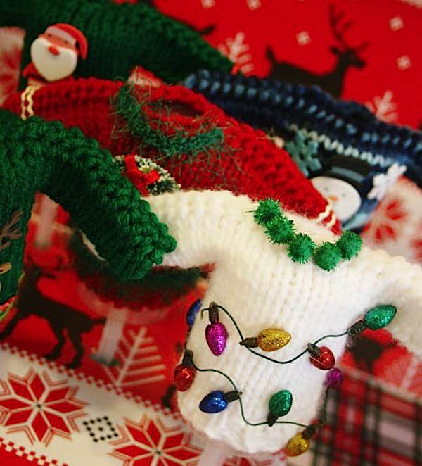 Tacky Christmas Party Ideas Part - 24: Tiny Sweaters For Decoration: