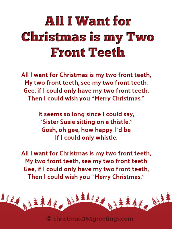 all i want for christmas is my two front teeth lyrics