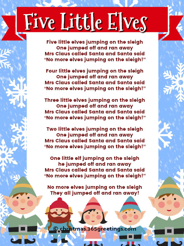 five little elves lyrics
