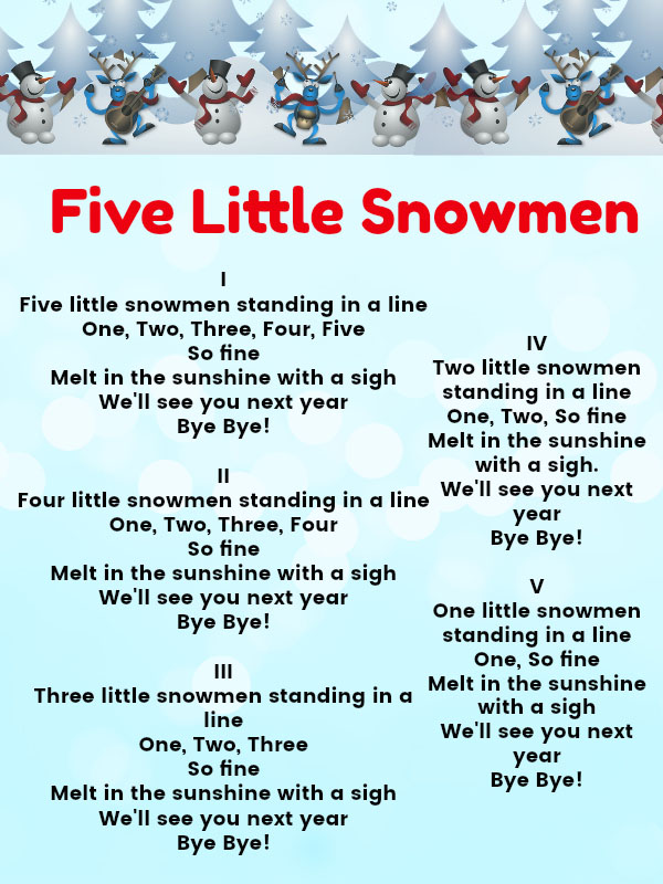 another delight by the kiboomers this song couples christmas and learning once again teaching kids to count five little snowmen lyrics