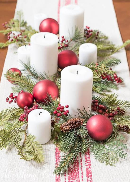 Christmas Greenery Centerpieces.35 Festive Christmas Candle Centerpiece Ideas Christmas