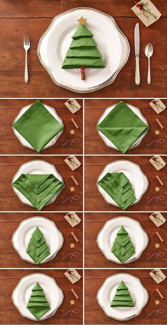 Christmas Tree Napkin Fold - Fancy Christmas Napkin Folding Ideas - Christmas Celebration - All