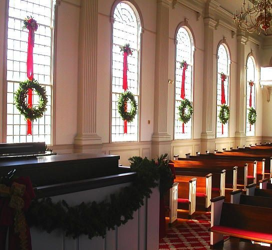give the beautifully handcrafted christmas garlands and wreaths a special place at the church sanctuary stage windows bring all eyes to this dcor by