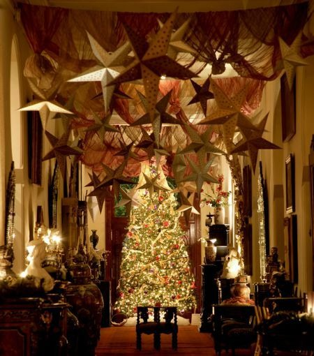 there arent too many colors or ornaments used in this elegant victorian inspired church decoration the beautiful christmas tree the stars and lighting - Christmas Church Decorations