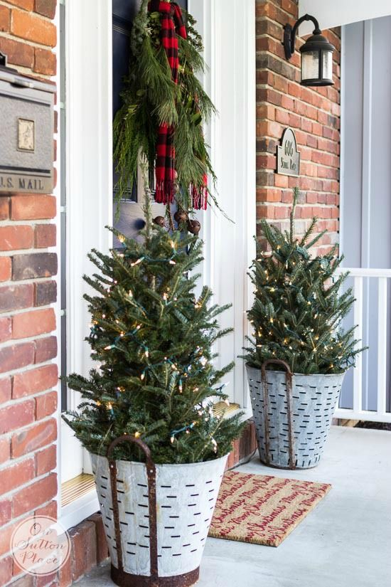 tree in a bucket - How To Decorate Front Porch For Christmas