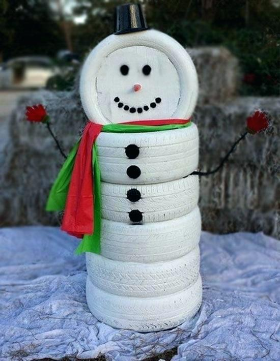 unleash the artist in your house and make a bold artistic statement with this snowman decoration inspirationally build from tyres