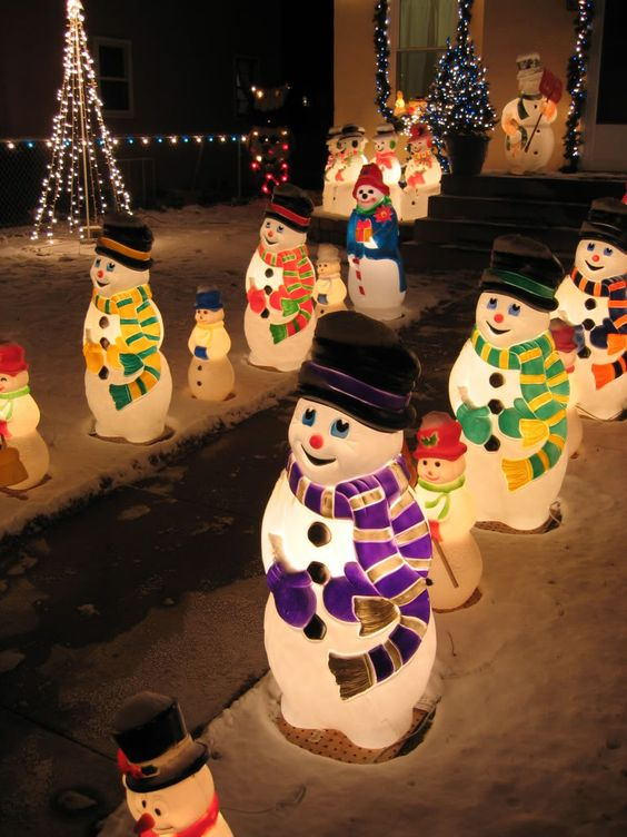 Light up your Christmas eve with this procession of multiple, magical  fairly lights. This fairy lights snowmen light up the path from the street  to your ... - Outdoor Snowman Christmas Decorations - Christmas Celebration - All