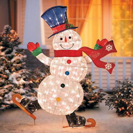 Outdoor snowman christmas decorations christmas celebration all why not spice and cheer up your front house decoration even further add this fairy lit cheerfully dancing snowman to your decorations and let the magic mozeypictures Choice Image