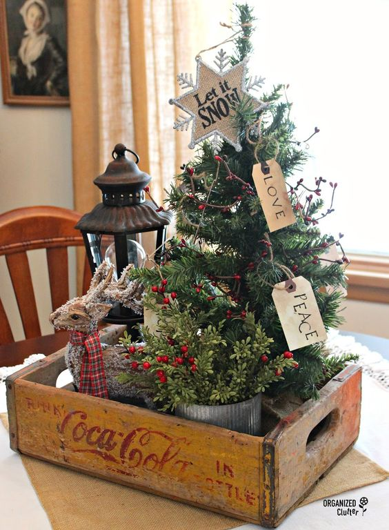 packed in an authentic coke box this tabletop decoration of christmas berries a reindeer and pine tree symbolizes the feelings of peace and love at - Primitive Christmas Tree Decorations