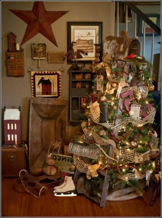 primitive christmas setting