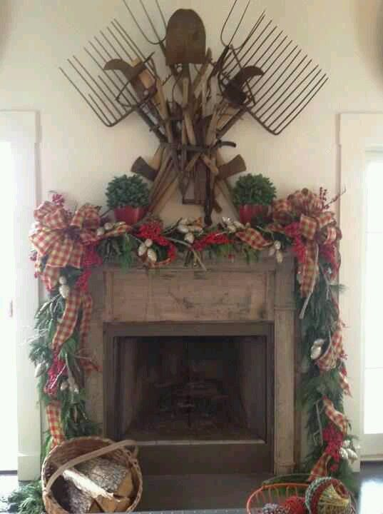 christmas fireplace harvest decoration - Primitive Christmas Decor