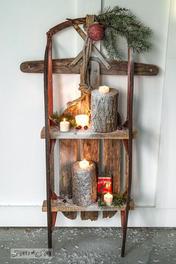 candles in a rough wooden stand - Primitive Christmas