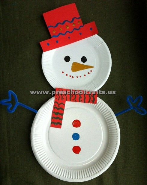 Paper Plate Snowman & Snowman Christmas Crafts - Christmas Celebration - All about Christmas