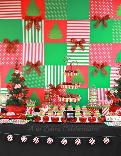 christmas party table backdrop