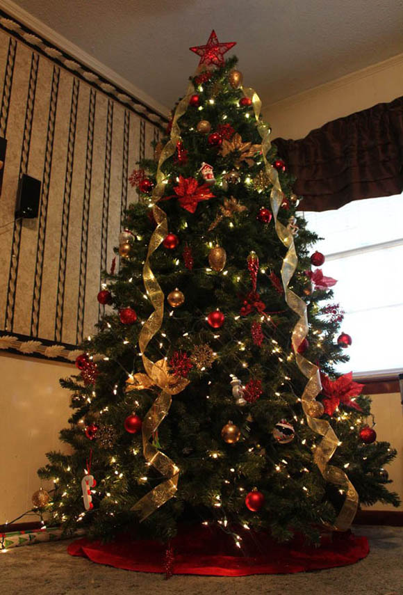 take a look at this traditional christmas tree decorated with christmas lights gold and red christmas balls golden ribbons and red poinsettias