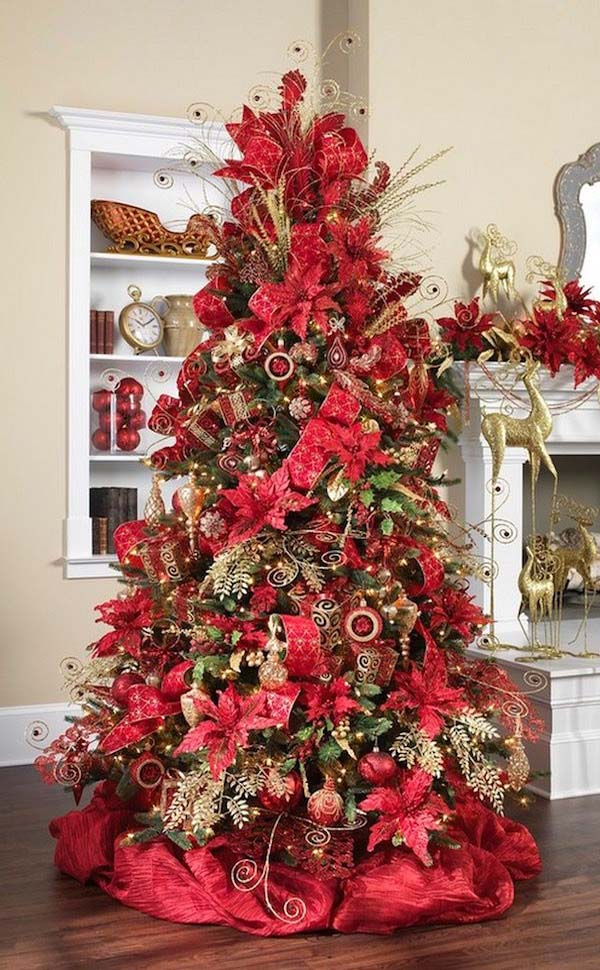 every inch of the tree has been utilized by using poinsettias and christmas ornaments the gorgeous red deco fabric made a beautiful base for this