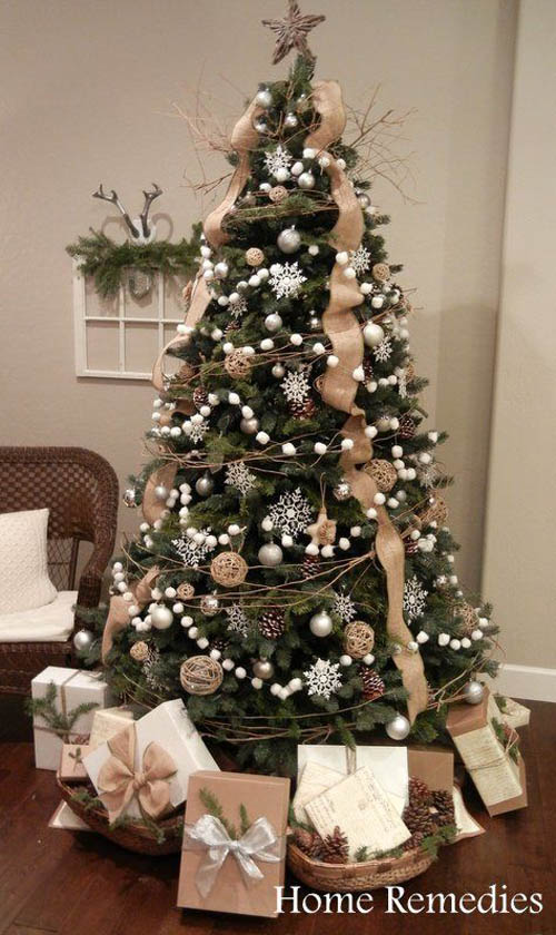 achieve a rustic elegance by decorating the christmas tree with white pom pom garland for a fresh look incorporate burlap twine garlands yard ornaments