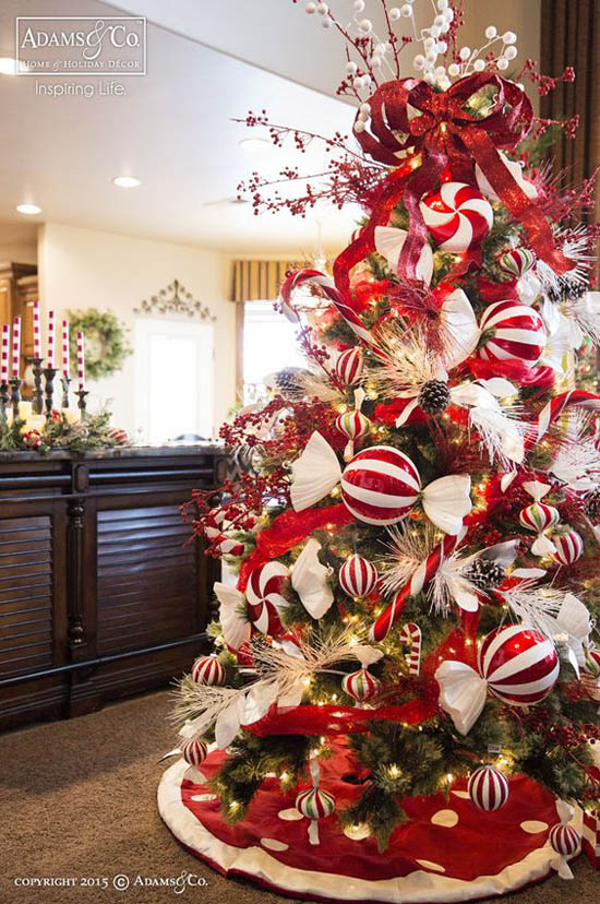 Red And White Christmas Tree Decorations Ideas.Elegant Christmas Tree Decorating Ideas Christmas