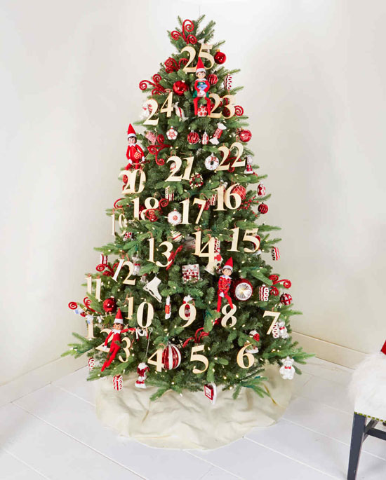 heres a double purpose christmas tree you dont just have a tree but also an advent calendar having numbers as ornaments together with the other fun - Elegant Christmas Ornaments