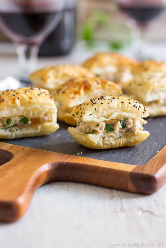 you might wonder what this mango chicken puff is doing in the list of bite sized make ahead appetizers