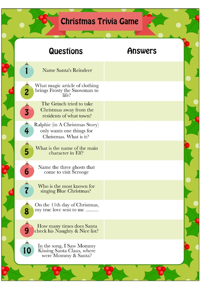 photograph about Christmas Trivia Game Printable called 20 Free of charge Printable Xmas Game titles - Xmas Party