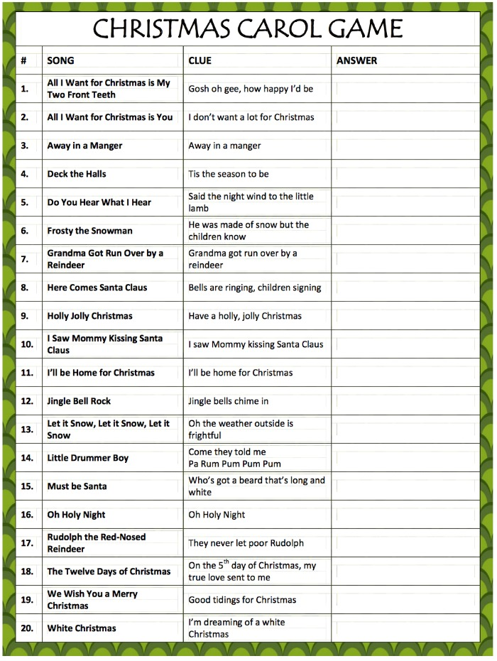 Printable Christmas Games Best House Interior Today