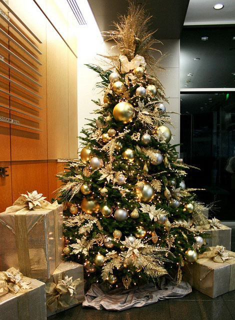 8 Best Golden Christmas Trees Decoration Ideas - Christmas