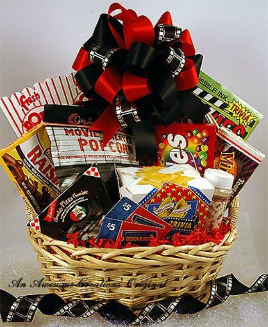 Gift Basket for a Movie Buff - Christmas Gift Basket Theme Ideas - Christmas Celebration - All