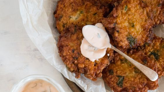 CHICK PEA RITTERS WITH SPICY AIOLI: