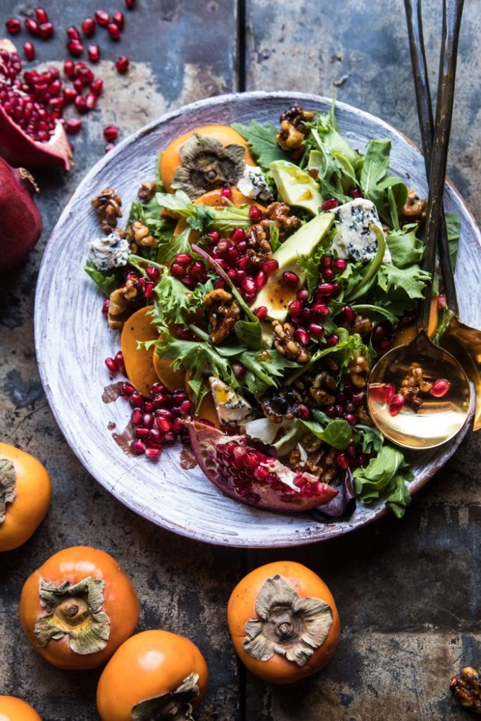 POMEGRANATE AVOCADO SALAD WITH CANDIED WALNUTS: