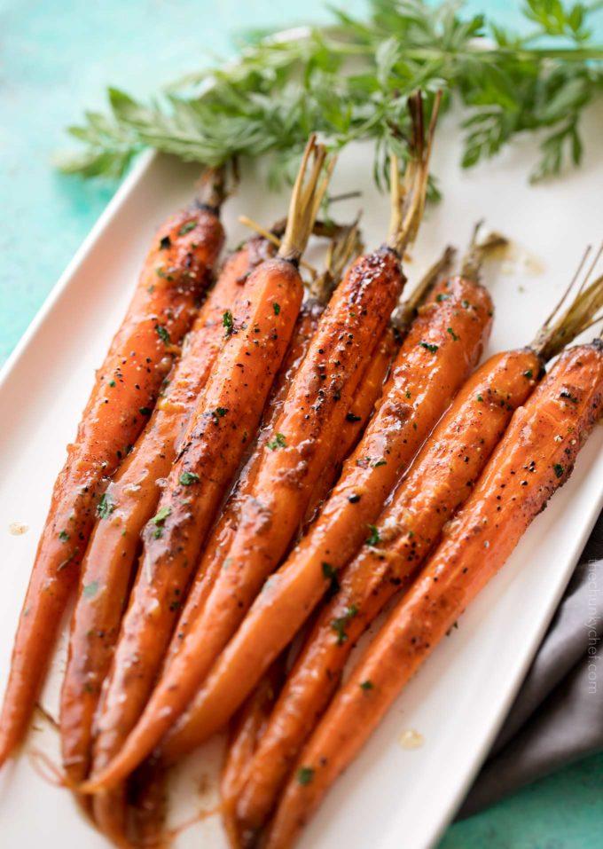 Roasted Spicy carrots glazedin Honey